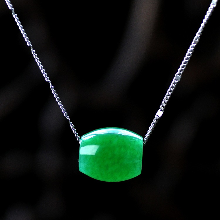 Natural 925 Silver Inlay Malay Green Jade Pendant  Emerald Pendants Necklace  Free For Chain