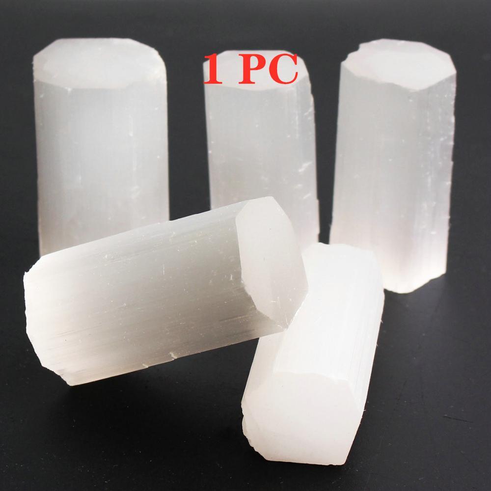 1pc Natural Rough Selenite Reiki Stone Gypsum Stones Points Healing Raw White Gypsum Wand