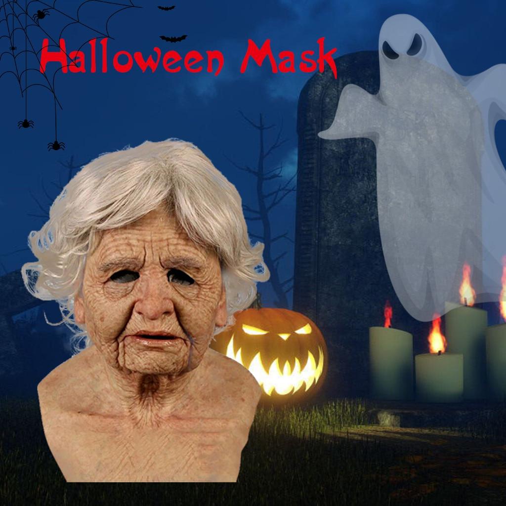 Divertida de vieja máscara para mujer, mascarilla lavable de Halloween, mascarilla facial de látex suave reutilizable antiarrugas, accesorios para fiesta de disfraces