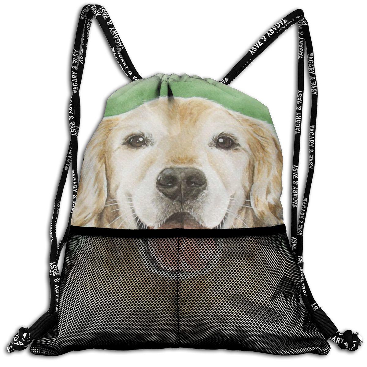 NOISYDESIGNS Golden Retriever Printing Drawstring Backpack Fashion Travel Storage Package Pouch For Women Men Worek Plecak