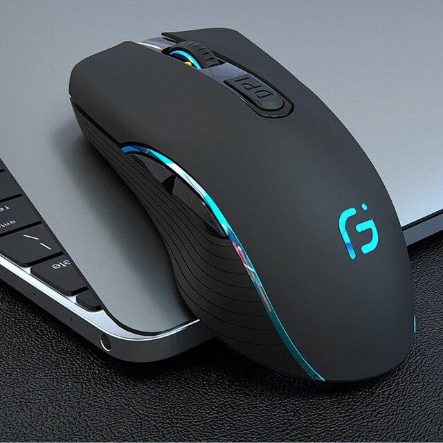CHOTOG Беспроводной Мышь Bluetooth 5,0 + 2,4G игровой компьютер Мышь геймера Eergonomic 2400 Точек на дюйм Оптическая профессиональная Мышь для портативных ПК
