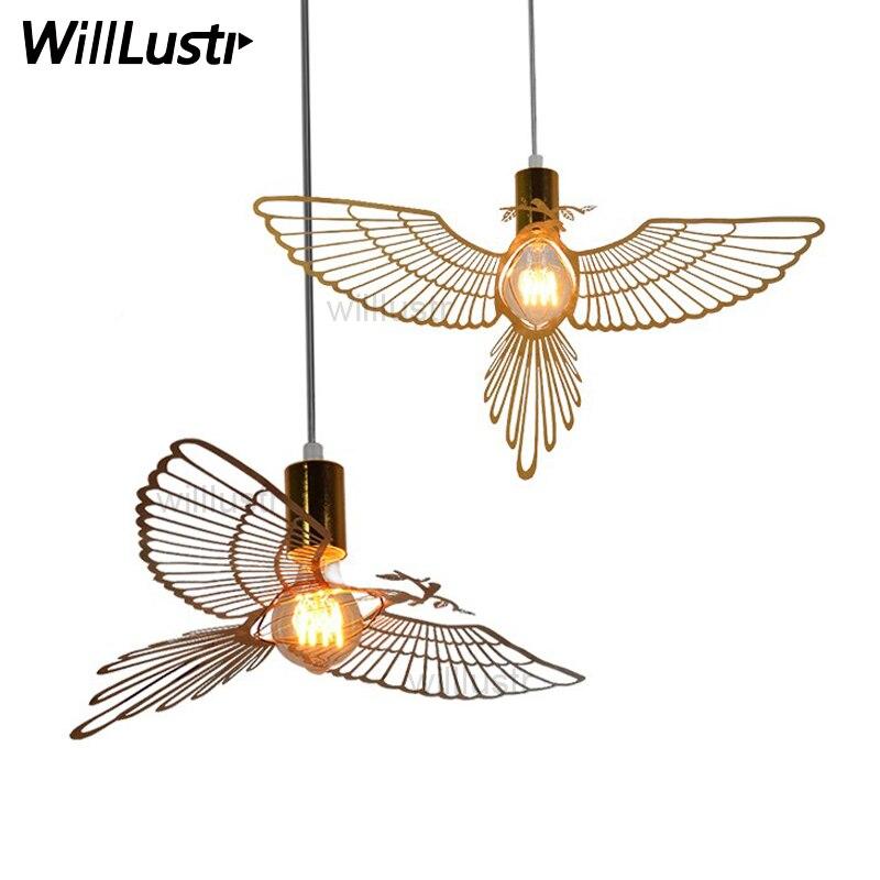 Réplica hommin design moderno pássaro luz pingente gravado escultura voando pássaro sala de jantar bar restaurante do hotel lâmpada suspensão|Luzes de pendentes| |  - title=