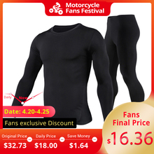 HEROBIKER Motorcycle Thermal Underwear Set Men's Motorcycle Skiing Winter Warm Base Layers Tight Long Johns Tops & Pants Set winter warm outdoor sports thermal underwear set polartec long johns men women thermal underwear top pants cycling base layers 4
