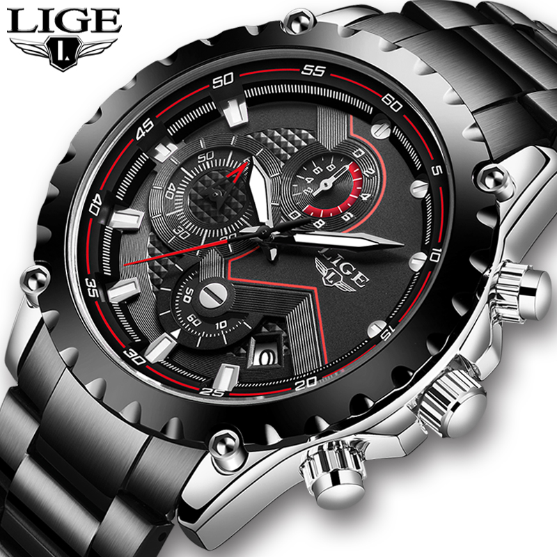 2020 LIGE New Mens Watches Top Luxury Brand Stainless Steel Sport Wrist Watch Chronograph Military Quartz Men Watch Reloj Hombre