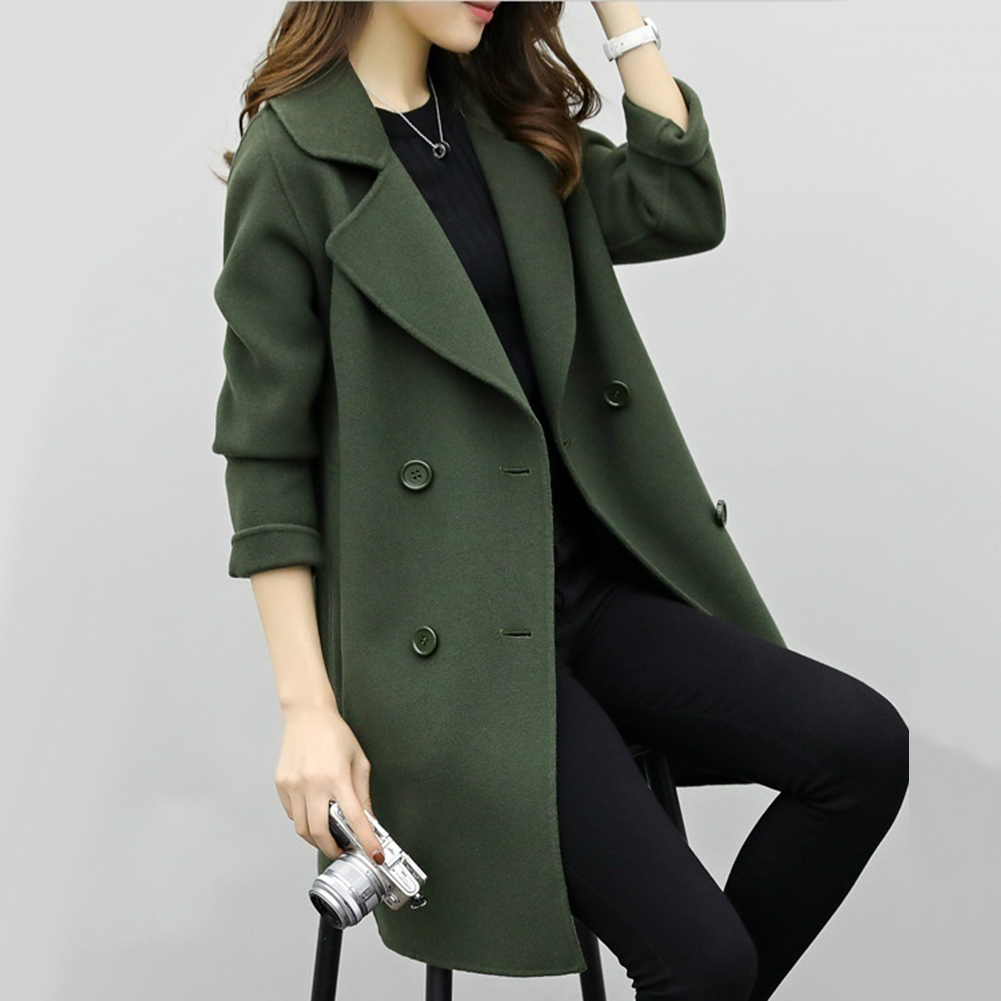 Women Wool Blend Warm Long Coat Plus Size Female Slim Fits Lapel Woolen Overcoat Autumn Winter Cashmere Outerwear manteau femme on AliExpress