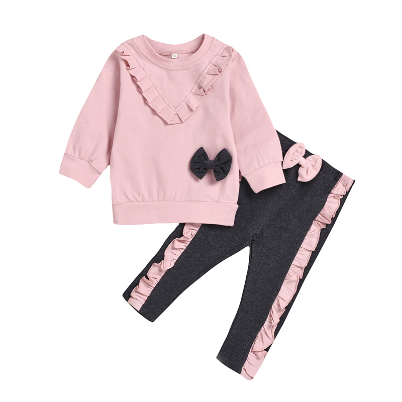 Spring Autumn Children Wear Girls Clothing Sets Kids Solid Clothing For Girls Long Sleeve Clothes Set Cute Lace Bow Two-Piece