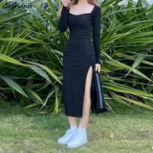 Mujeres de manga larga vestido de longitud de pantorrilla Collar cuadrado negro Funda Retro de corte Slim Vintage Sexy hendidura lateral elástico-Encuentro de Simple