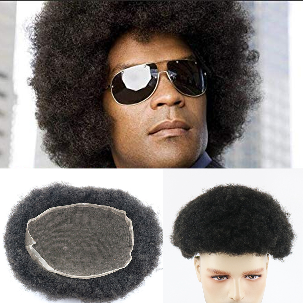 French Full Lace Afro Toupee Human HairPieces Men's Replacement System With Natural Hairline For Black Men