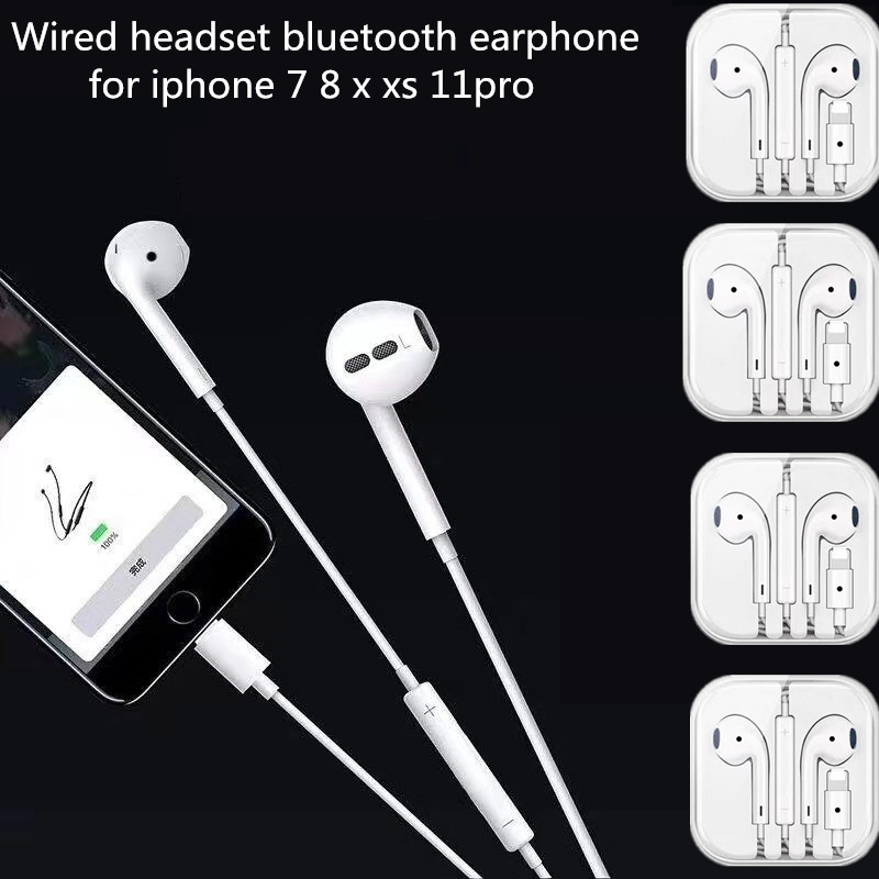 Smart Lighting Tws Port Bluetooth Headset In Ear For IPhone 7 8 Earphone X XS 11 Pro Max Earbuds With Microphone Wired Earphones