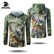 SPATA nuevas camisetas de Pesca de lubina Anti UV de protección solar de manga larga para hombres camuflaje chaqueta de pesca conjunto camisa ropa grande
