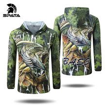 SPATA 새로운베이스 낚시 t 셔츠 안티 자외선 태양 보호 긴 소매 남자 통풍 위장 낚시 세트 셔츠 의류 의류
