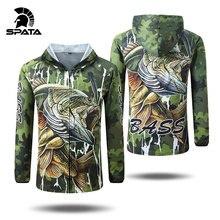 Spata novo baixo pesca t camisas anti uv proteção solar manga longa dos homens respirável camuflagem pesca define camisa roupas