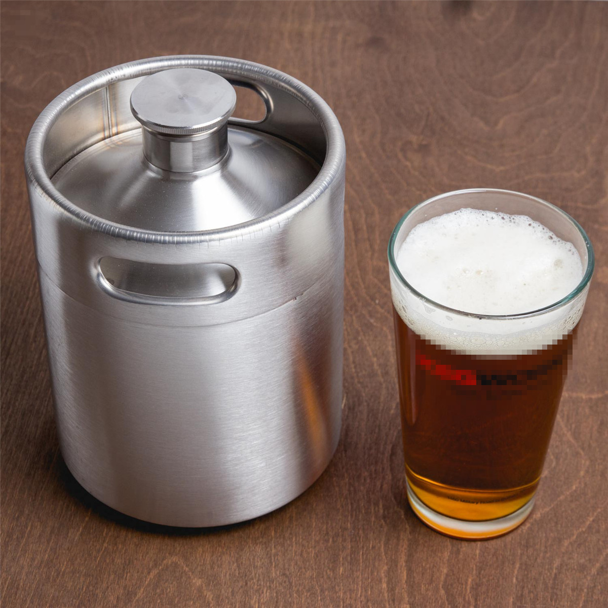 2L 304 Stainless Steel Mini Beer Keg Pressurized Growler Beer Bottle Home Brewing Fruit Wine Beer Equipment Making Tool Home Pub
