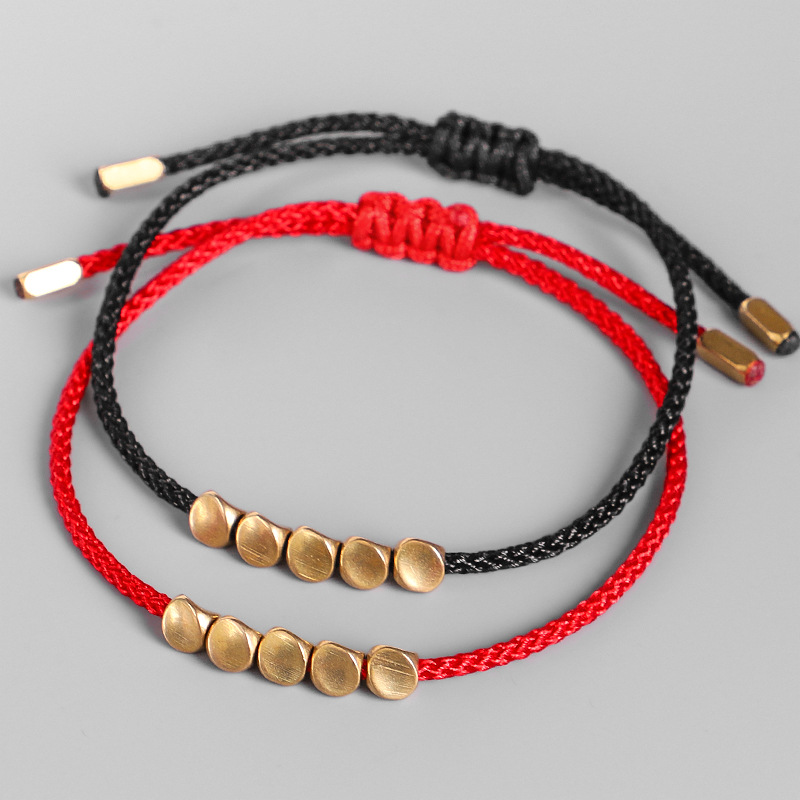 Tibetan Buddhist Creative Irregular Copper Beads Red Black Rope Pulling Bracelet For Women Men Handmade Knots Thread Bracelets