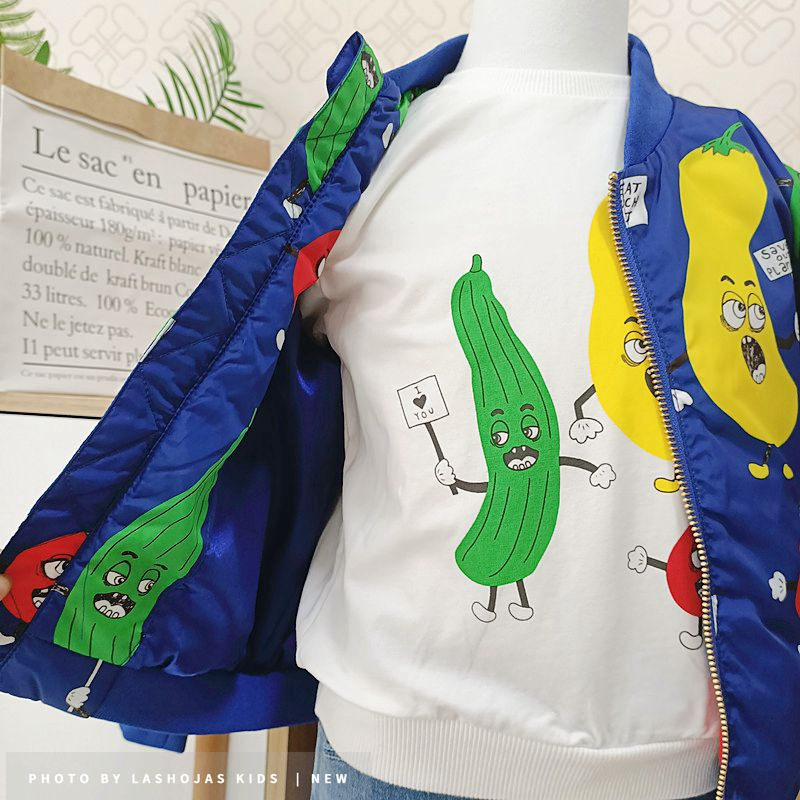 Winter Baby Girls Boys Vegetables Printed long Jacket Kids Keep Warm Thick  Fruits Parkas Coats Children Girls Outerwear Boys Cl 5