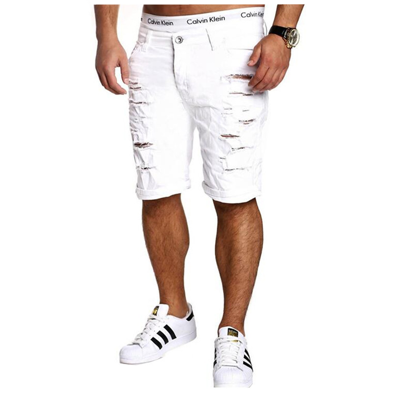 2020 New Summer Ripped Mens Denim Shorts Slim Regular Knee Length Short Hole Jeans Shorts For Male White Blue Black Red Coffee