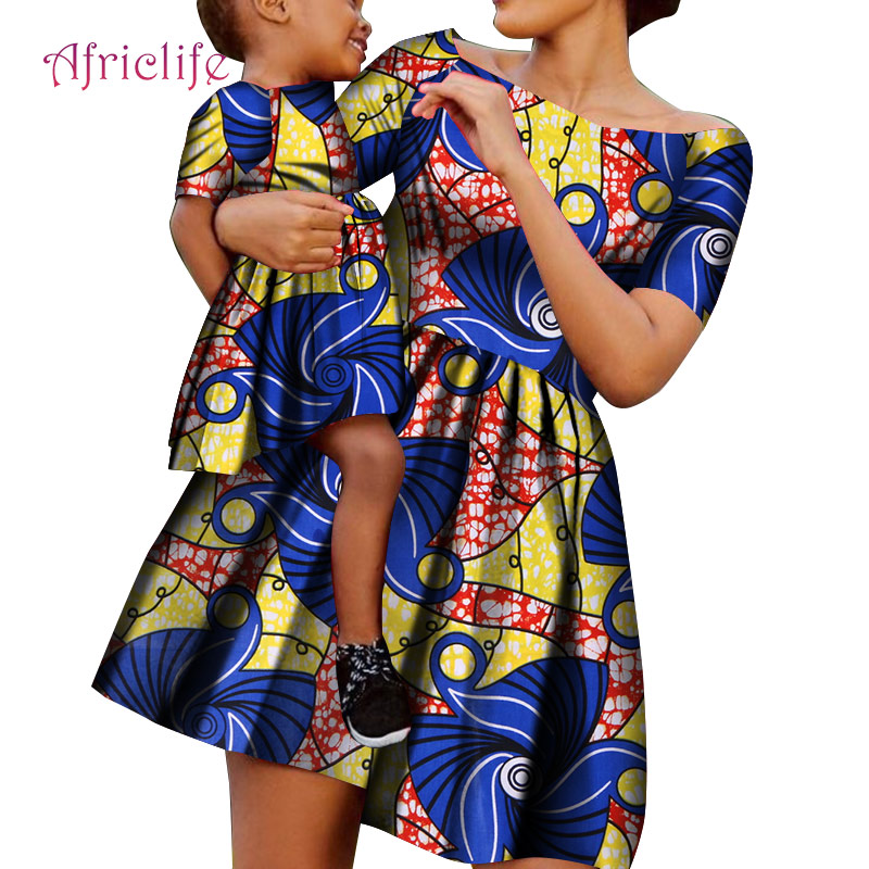 WYQ490 Bady Girl And Mother Skirt Simple High Waist Summer Clothing African Wax Print Cotton Plus Size Custom Family Clothing