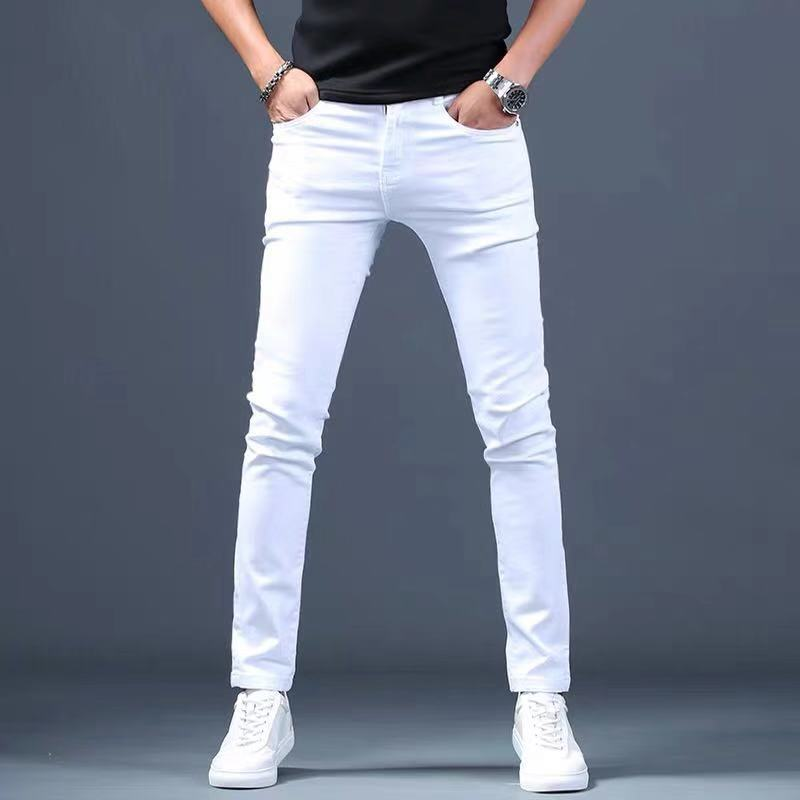 Designer White Jeans Men Brand New Fashion Elastic Mens Denim Pants Trousers  Casual Slim Fit Stretch Skinny Jeans Pants For Men