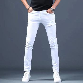 Designer White Jeans Men Brand New Fashion Elastic Mens Denim Pants Trousers  Casual Slim Fit Stretch Skinny Jeans Pants for Men qmgood mens jeans 2017 new fashion slim fold jeans men brand designer denim pants large size locomotive jeans casual male 40 42