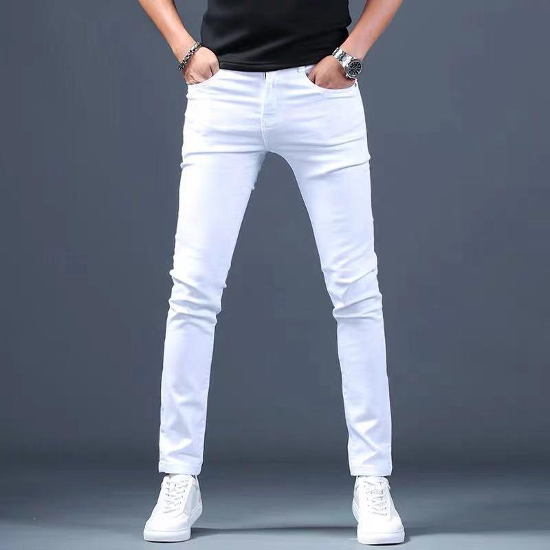 Designer White Jeans Men Brand New Fashion Elastic Mens Denim Pants Trousers Casual Slim Fit Stretch Skinny Jeans Pants for Men