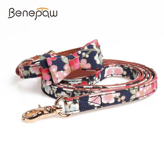 Benesaw PU leather Floral Bowtie smycz dla psa zestaw wygodny regulowany wyściełany szczeniak dla małych średnich psów