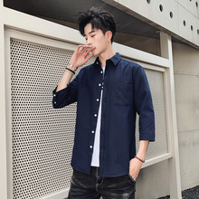 Spring Men Fashion Japan Style Cotton Linen solid color Half Sleeve Stand Collar mens dress shirts Male Casual non-ironing Shirt stand collar half breasted mens tee
