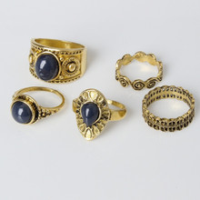 5 PCS / European and American retro black gem fashion rings. Many different shapes and styles. Unique and elegant ring jewelry. 5 pcs faux gem elephant rings
