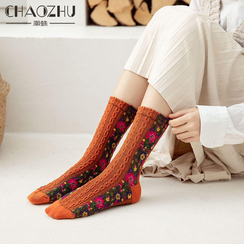 CHAOZHU Retro Court Nation Floral American Country Style Unique Design Women Autumn Winter Spring Cotton Knitting Socks