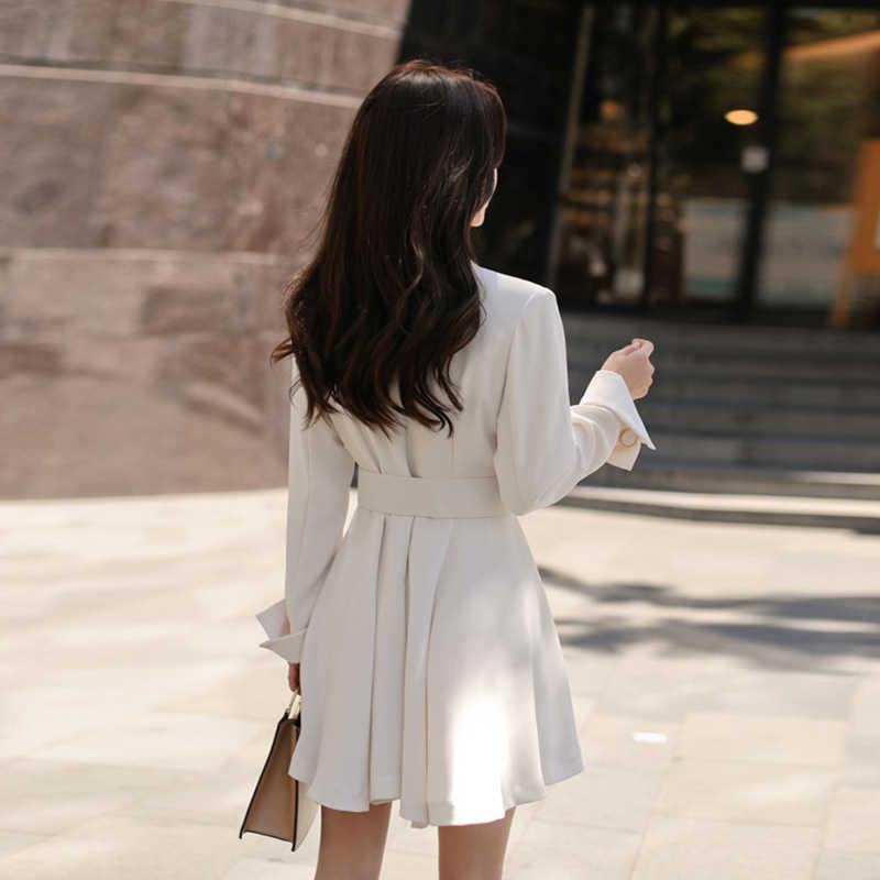 Moda kadınlar zarif beyaz mini resmi elbise yeni varış rahat parti iş tarzı sonbahar kanat sevimli taze açık evaze elbise