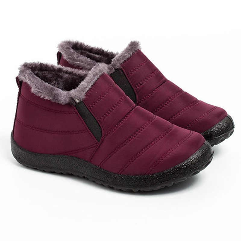 2019 kadın ayakkabı sıcak peluş kürk yarım çizmeler kadınlar kış kadın üzerinde kayma düz rahat ayakkabılar su geçirmez ayakkabı kadın kar botları