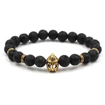 Fashion volcanic stone natural stone bracelet golden dumbbell lion head Pendant bracelet men's exercise jewelry bracelet 2