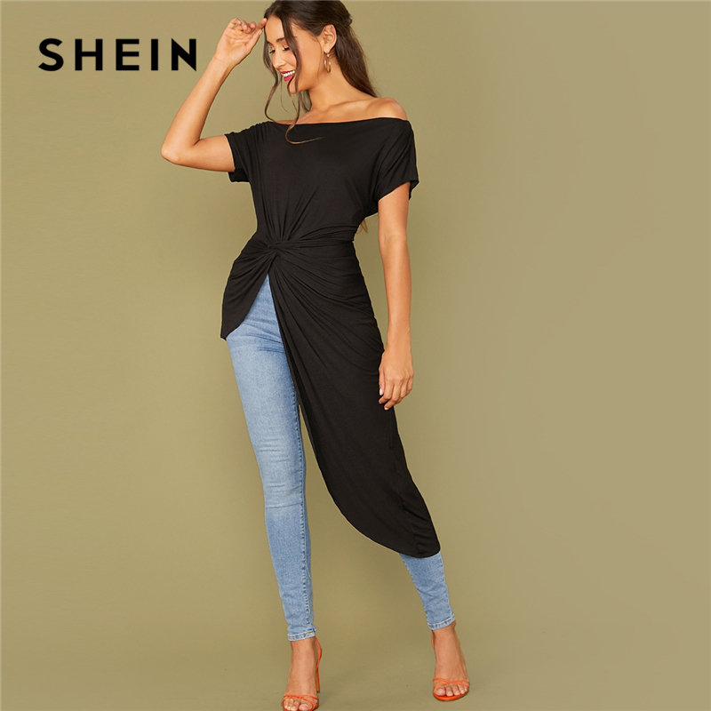 SHEIN Black Off The Shoulder Twist Front Asymmetrical Hem Bardot T-Shirt Women Tops 2019 Autumn Short Sleeve Solid Elegant Tees