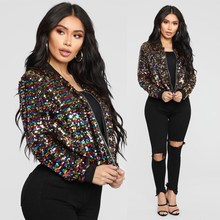 2019 Women Long Sleeve Colorful Bomber Jacket Zipper Bling Sequin Coat Glitter Street Club Wear