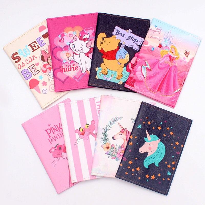 Fashion Cute Cat &Duck Animals Cartoon Passport Cover Men Women PU Leather Travel Passport Holder Case Card ID Holders 14.5*10cm