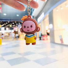 Creative Cartoon Animal Key Chains Plastic Action Figures Small Bee Key Chain Bag Accessories Pendant Key Ring(China)