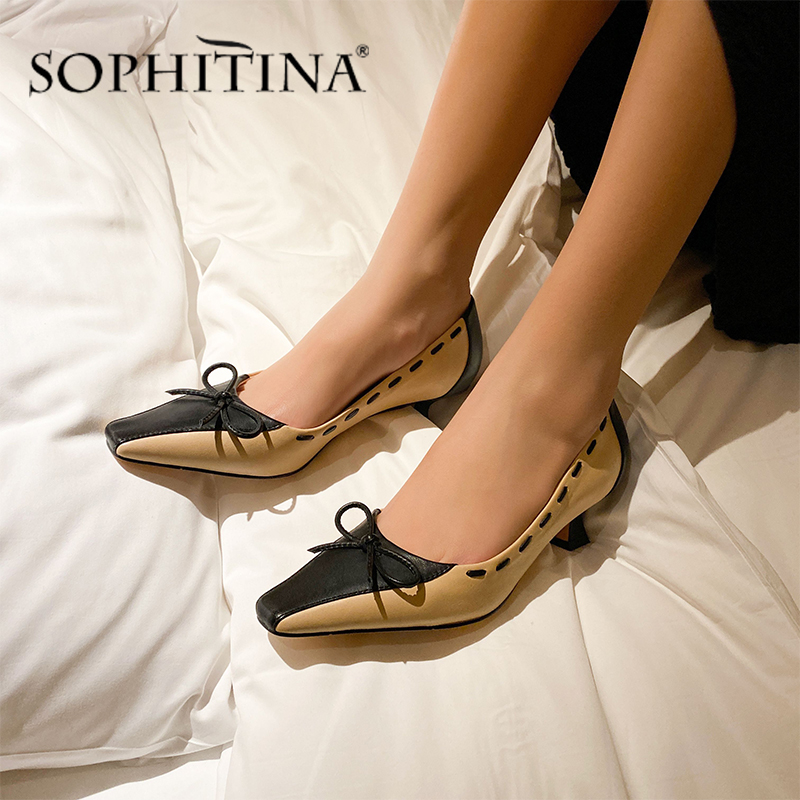 SOPHITINA Elegant Women Pumps Mixed Colors Sewing Butterfly-Knot Decoration High Quality Sheepskin Shoes New Slip-On Pumps PO495