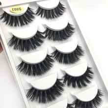 LM&Beauty 5Pairs 3D Mink False Eyelashes Natural Wispy Fluffy Dramatic Volume Fake Lashes Extension Handmade Crueltyfree Eyelash