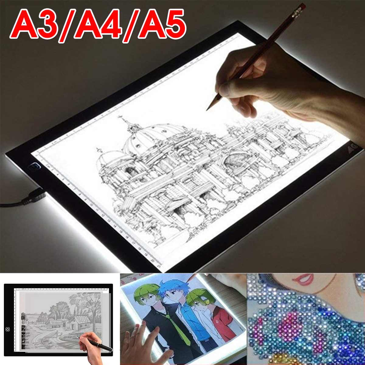 A3 A4 A5 Graphics Tablet LED Drawing Tablet Art Stencil Drawing Board Light Box Tracing Table Pad Electronics Writing Tablet