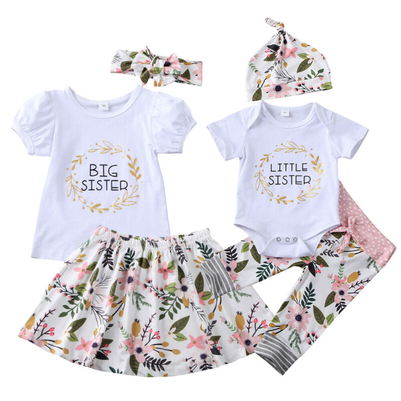 Flower Newborn Toddler Baby Girl Family Matching Outfits Little Sister Romper Pants Big Sister T Shirt Skirts Outfits