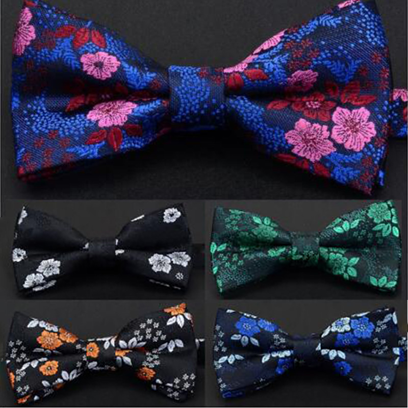 Ricnais New Design Luxury Floral Bow Tie For Men Silk Pajaritas Hombre Quality Red Bowties Suit Wedding Party Male Neckwear