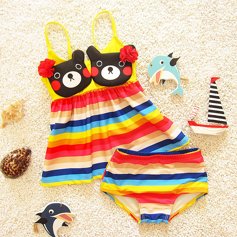 Students Korean-style New Style Article Rainbow Large Children Cute Sweet Bear Split Skirt Triangle Baby Girls Bathing Suit