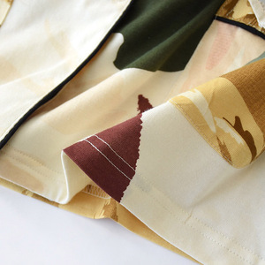 Image 5 - Women Long Sleeve Nightwear Autumn 100% Cotton Knitted Pajama Set Turn down Collar Leaves Printing Pajamas Loungewear Sleepwear