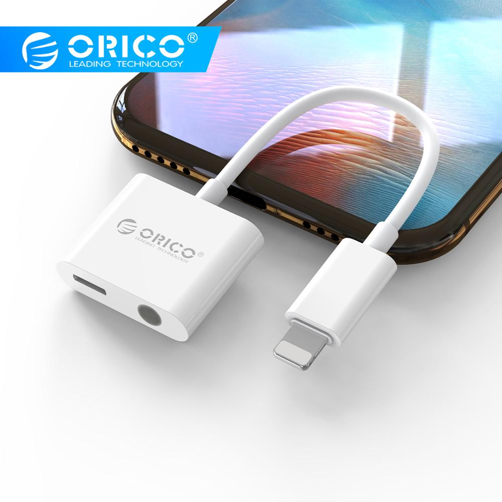 ORICO Charging Headphone Adapter For Iphone X XS XR 3.5mm Jack Earphone Splitter Adapter Converter Calling For Iphone 7 8 Plus