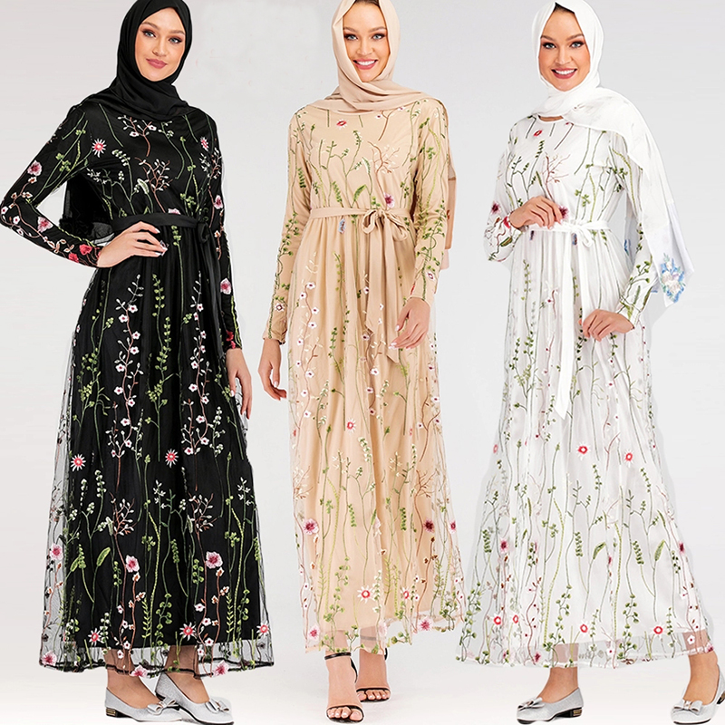 Hijab Muslim Dress Floral Abaya Dubai Turkish Dresses Islam Caftan Marocain Kaftan Qatar Omani Islamic Clothing Abayas For Women