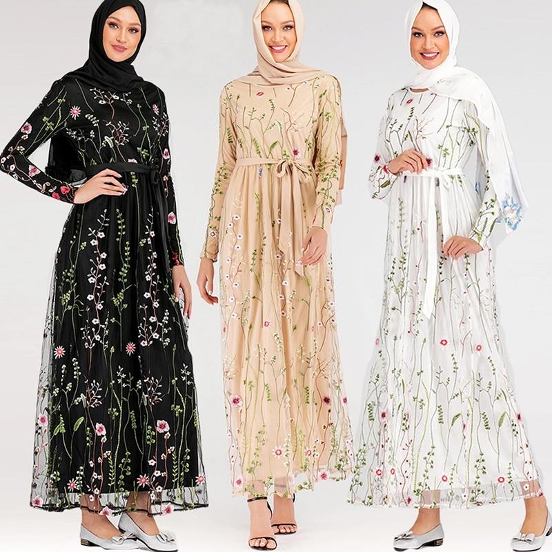Hijab Muslim Dress Floral Abaya Dubai Turkish Dresses Islam Caftan Marocain Kaftan Qatar Omani Islamic Clothing Abayas For Women