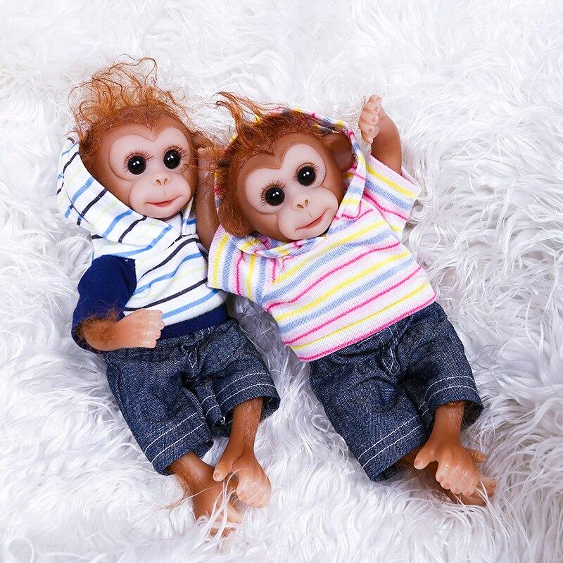20CM mini singe bébé jumeau très doux souple silicone reborn poupée fait à la main réaliste créatif nouveauté cadeau