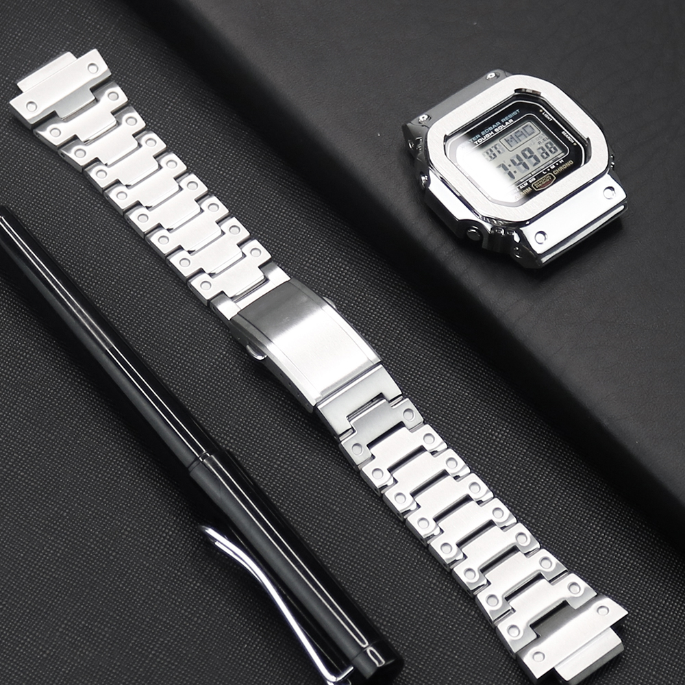 Watch Strap For Casio G-shock DW/GW 5600 5610 Watch Case 316L Stainless Steel Watch Bezel For Casio GLX-5600 G-5600-E Watch Band