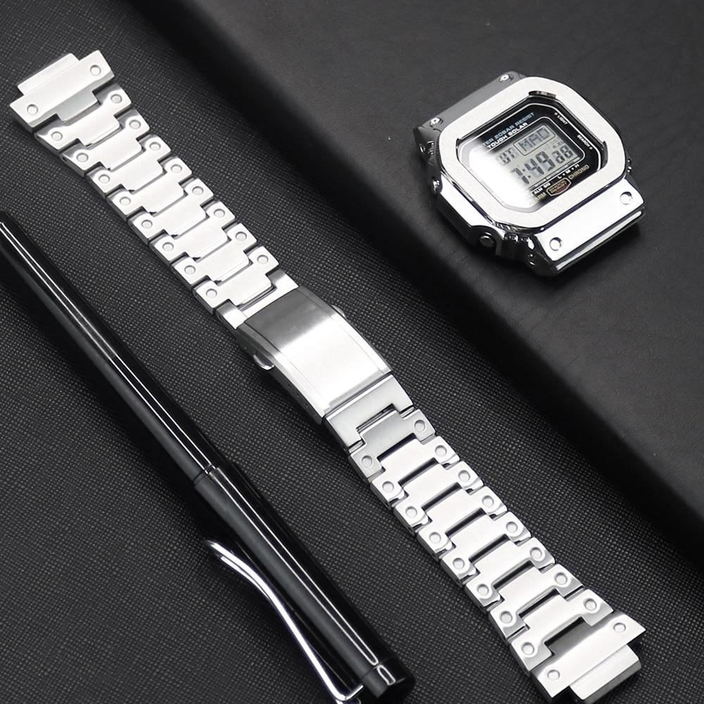 Watch Strap For Casio G-shock DW/GW 5600 5610 Watch Case 316L Stainless Steel Watch Bezel For Casio GLX-5600 G-5600-E Watch Band