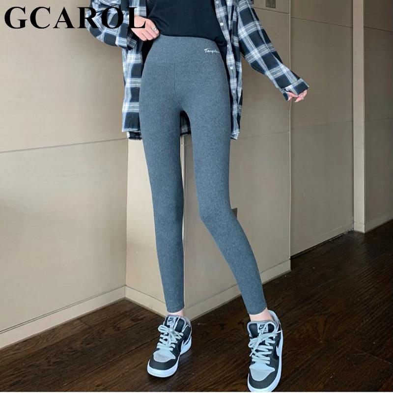 GCAROL женские плотные флисовые леггинсы с высокой талией, леггинсы с надписью, тянущиеся зимние бесшовные леггинсы для фитнеса, можно носить ниже нуля
