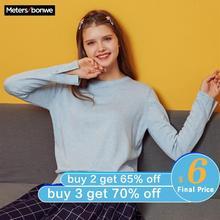 Metersbonwe Coton Tricoté Pull Femmes Pulls O cou Automne Hiver Basique Femmes Pulls Style Coréen Slim Fit